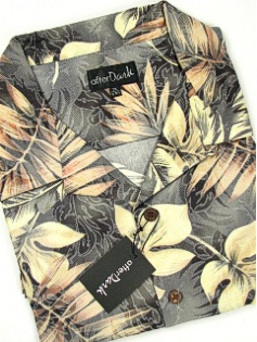 #232452. 5XL TALL. BLACK Retail $  69.00 Short Sleeve Tropical by COTTON WORKS. TROPICAL PRINT Whs A:  1 FW:  1