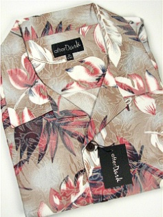 #072104. 5XL TALL. TAUPE Retail $  69.00 Short Sleeve Tropical by COTTON WORKS. TROPICAL PRINT Whs A:  3
