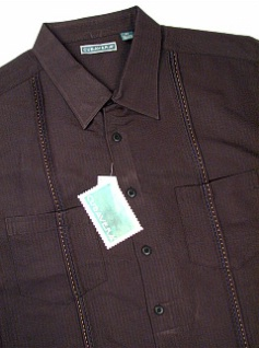 #222510. 2XL TALL. BLACK Retail $  75.00 Short Sleeve by CUBAVERA. 2-POCKET TUCK Whs A:  1