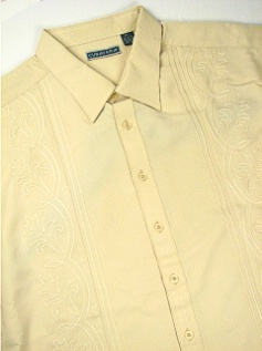 #284699. 4XL TALL. SAND Retail $  70.00 Short Sleeve by CUBAVERA. VERTICAL PANEL Whs A:  1