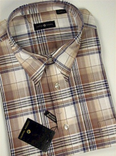 #303257. 2XL TALL. KHAKI Retail $  48.00 Short Sleeve by CTTON TRADERS. EASY CARE PLAID Whs A:  1