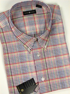 #216382. 2XL TALL. BLUE Retail $  48.00 Short Sleeve by CTTON TRADERS. EASY CARE PLAID Whs A:  1 FW:  1
