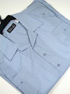 #086725. 4XL BIG. LT BLUE Retail $  42.00 Short Sleeve by D'AVILA. SOLID GUAYBERA Whs:  5,FW:  1,