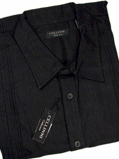 #100821. 3XL BIG. BLACK Retail $  69.00 Short Sleeve by CELLINI. PIN TUCK LINEN/COTTON Whs A:  1