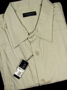 #104274. 4XL BIG. OAT Retail $  69.00 Short Sleeve by CELLINI. PIN TUCK LINEN/COTTON Whs A:  1 FW:  1