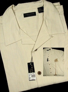 #279219. 3XL BIG. NATURAL Retail $  79.00 Short Sleeve Updated by CELLINI. SILK CAMP PALM TREE Whs A:  1