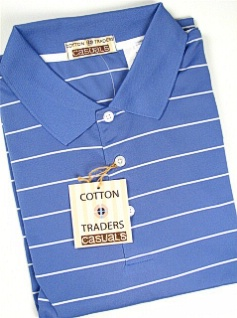 #115940. 4XL BIG. BLUE Retail $  49.00 Short Sleeve Stay Dry by CTTON TRADERS. WICKING KNIT STRIPE Whs A:  1