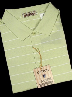 #019387. 2XL BIG. LIME Retail $  49.00 Short Sleeve Stay Dry by CTTON TRADERS. WICKING KNIT STRIPE Whs A:  3