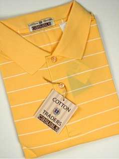 #040466. 4XL BIG. MELON Retail $  49.00 Short Sleeve Stay Dry by CTTON TRADERS. WICKING KNIT STRIPE Whs A:  3 FW:  1