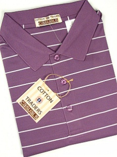#007515. XL TALL. PLUM Retail $  49.00 Short Sleeve Stay Dry by CTTON TRADERS. WICKING KNIT STRIPE Whs:  2,
