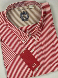 #325228. 4XL BIG. RED Retail $  95.00 Short Sleeve by CUTTER BUCK. BENGAL STRIPE Whs A:  1 FW:  1