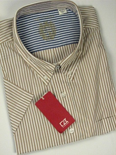 #359720. 4XL BIG. TAN Retail $  95.00 Short Sleeve by CUTTER BUCK. BENGAL STRIPE Whs A:  2