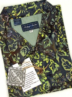 #251732. 2XL BIG. OLIVE Retail $  65.00 Short Sleeve Tropical by INDYGO SMITH. BATIK PRINT Whs:  1,