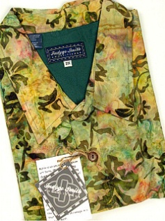 #321129. 4XL TALL. KHAKI Retail $  65.00 Short Sleeve Tropical by INDYGO SMITH. BATIK PRINT Whs A:  1