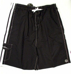 #234807. 6XL BIG. BLK/WHT Retail $  48.00 Swim Wear by MAUI AND SON. SOLID STRIPES TRUNK Whs B:  1