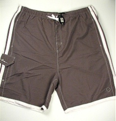 #075390. 6XL BIG. GREY/WHT Retail $  48.00 Swim Wear by MAUI AND SON. SOLID STRIPES TRUNK Whs A:  3