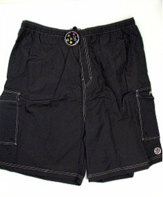 #086121. 6XL BIG. BLACK Retail $  48.00 Swim Wear by MAUI AND SON. CARGO PKT NYLON TRUNK Whs A:  2 FW:  1