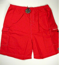 #062903. 6XL BIG. RED Retail $  48.00 Swim Wear by MAUI AND SON. CARGO PKT NYLON TRUNK Whs A:  4