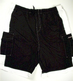 #012742. 2XL BIG. BLK/WHT Retail $  44.00 Swim Wear by MAUI AND SON. M-FIBER SIDE STRIPE Whs A:  1