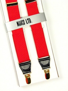 #040747.  . RED Retail $  30.00 Suspenders by MARCO LTD. BOXED CLIP XL Whs A:  3