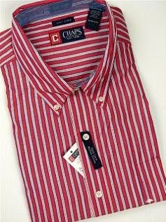 #096322. 3XL TALL. RED Retail $  66.00 Long Sleeve BD/BU by CHAPS. VERTICAL STRIPE FW:  1