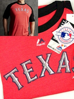 #237990. 3XL TALL. RED Retail $  35.00 Short Slv Graphic Tee by MAJESTIC. RANGERS RAGLAN Whs A:  2