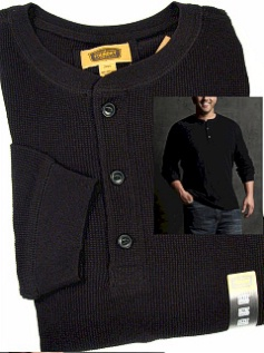 #010128. 2XL TALL. BLACK Retail $  40.00 Long Sleeve by FOUNDRY. THERMAL HENLEY LNGSLV Whs A:  2