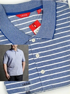 #280521. 4XL BIG. BLUE Retail $  52.00 Short Sleeve by IZOD. PIQUE WHITE STRIPE Whs A:  2 FW:  1