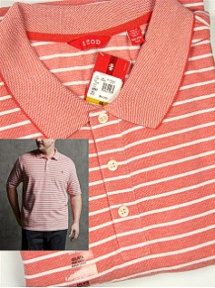 #224130. 4XL BIG. RED Retail $  52.00 Short Sleeve by IZOD. PIQUE WHITE STRIPE Whs A:  2