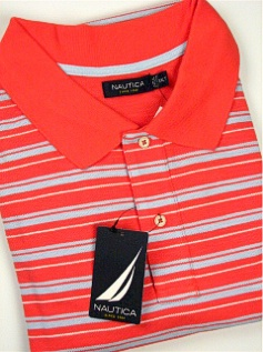 #307198. 3XL TALL. RED Retail $  75.00 Short Sleeve by NAUTICA. PIQUE HORIZ STRIPE Whs A:  2 FW:  1