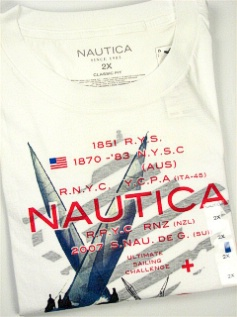 #143170. 3XL BIG. WHITE Retail $  35.00 Short Slv Graphic Tee by NAUTICA. A RACING LEGACY Whs:  1,FW:  1,