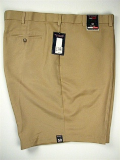 #038162. 52 . KHAKI Retail $  46.00 Shorts by ROUNDTREE YORK. EXPANDER PLAIN FRONT Whs:  3,FW:  1,