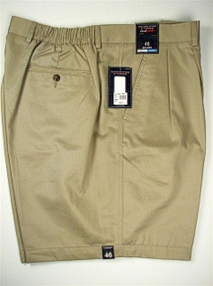 #059730. 50 . KHAKI Retail $  46.00 Shorts by ROUNDTREE YORK. SIDE-ELASTIC PLEAT Whs:  3,FW:  1,