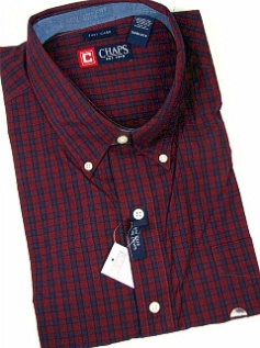 #283425. 5XL BIG. BURGUNDY Retail $  66.00 Long Sleeve BD/BU by CHAPS. EZ CARE CHECK Whs A:  1