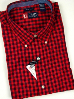 #060433. 4XL BIG. RED Retail $  66.00 Long Sleeve BD/BU by CHAPS. EZ CARE CHECK Whs A:  1