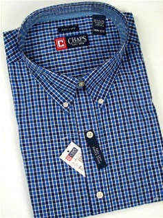 #204930. 4XL BIG. BLUE Retail $  66.00 Long Sleeve BD/BU by CHAPS. EZ CARE CHECK Whs A:  1