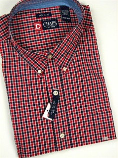 #168375. 3XL TALL. RED Retail $  66.00 Long Sleeve BD/BU by CHAPS. EZ CARE CHECK FW:  1,