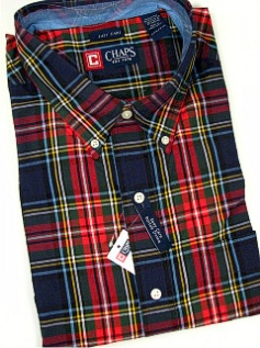 #211583. 5XL BIG. NAVY Retail $  66.00 Long Sleeve BD/BU by CHAPS. EZ CARE PLAID Whs A:  1