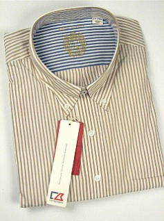 #266026. 3XL TALL. ROPE Retail $ 105.00 Long Sleeve Cotton by CUTTER BUCK. BENGAL STRIPE Whs A:  1