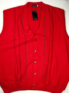 #037813. 3XL BIG. BLACK Retail $  69.00 Sweaters by TOSANI KNITWEAR. SLEEVELESS CARDIGAN Whs:  1,
