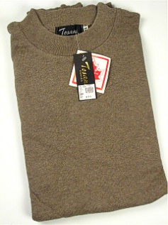 #126850. 4XL BIG. TAUPE Retail $  74.00 Sweaters by TOSANI KNITWEAR. SOLID MOCK Whs A:  1