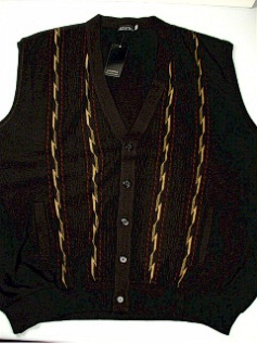 #147011. 4XL BIG. BROWN Retail $  69.00 Sweaters by COOPER KNITWEAR. SLEEVELESS CARDIGAN Whs:  1,