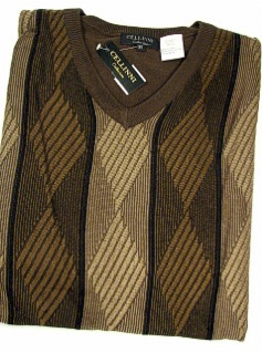 #194693. XL TALL. BROWN Retail $  79.00 Sweaters by CELLINI. V-NECK LS VERT PANEL Whs A:  1