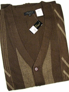 #024682. 2XL BIG. BROWN Retail $  85.00 Sweaters by CELLINI. CARDIGAN LS JACQUARD Whs A:  2