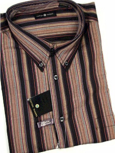 #278935. 2XL TALL. BLACK Retail $  48.00 Long Sleeve Cotton by CTTON TRADERS. WRINKLE RESIST STRIPE Whs A:  2