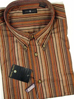 #158086. 2XL TALL. SPICE Retail $  48.00 Long Sleeve Cotton by CTTON TRADERS. WRINKLE RESIST STRIPE Whs:  1,