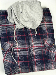 #342342. 3XL BIG. NAVY Retail $  54.00 Long Sleeve Flannel by FALCON BAY. HOODED FULL ZIP Whs A:  1