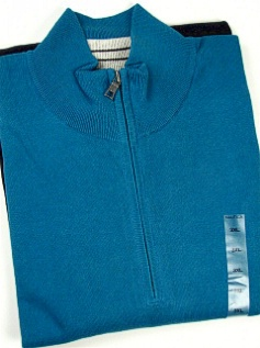 #199564. 3XL BIG. TEAL Retail $  89.50 Long Sleeve by NAUTICA. QTR ZIP BEEFY JERSEY Whs:  1,