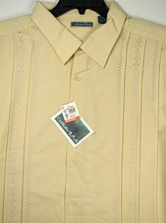 #358398. 4XL TALL. SAND Retail $  75.00 Short Sleeve by CUBAVERA. VERTICAL PANEL PLEAT Whs A:  1 FW:  1