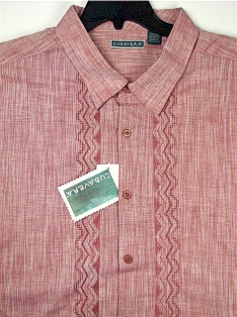 #134244. 4XL TALL. BURGUNDY Retail $  75.00 Short Sleeve by CUBAVERA. VERTICAL ZIGZAG PANEL Whs:  1,